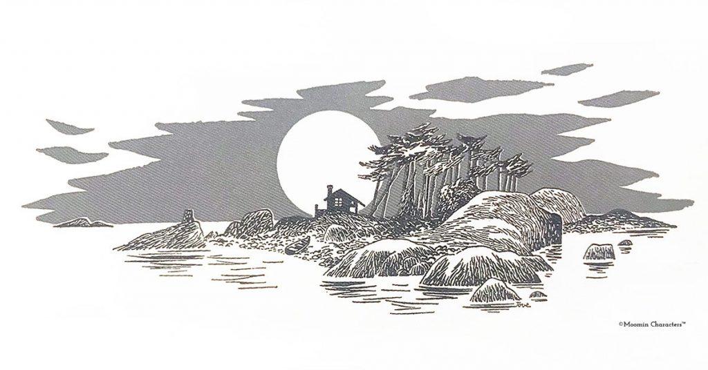 Tove Janssonin piirros vuodelta 1955 - Toven ja Larsin saari.
